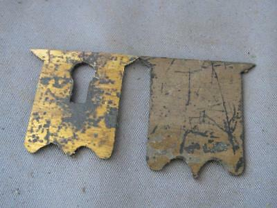 Old brass shield shape escutcheon & plate  for a writing box / lap desk