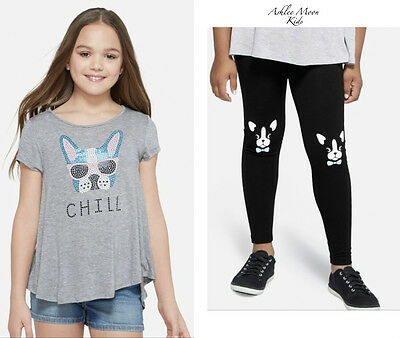 NWT JUSTICE Girls 12 Dog Studded Swingy Tee & Dog Printed Leggings Outfit