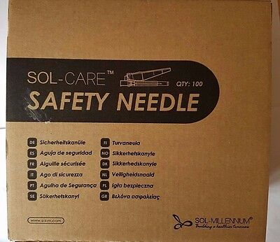"""Sol-Care Safety Needle Pack of 100 21G x 1"""""""