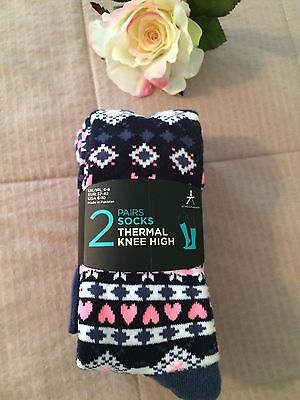 2 Pair Size 6-10 Thermal Women's Knee High Socks, Hearts, Pink, Fun Patterns