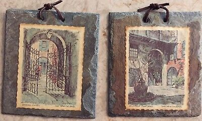 2 Antique New Orleans Slate Roof Tiles Tile Hanging Wall Decor Wishing Gates