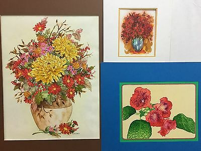 T. Cathey 3-Flower groups original art NR