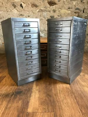 Vintage Industrial Stripped  Metal 10 Drawer Filing Cabinets A4 Size Free P+P