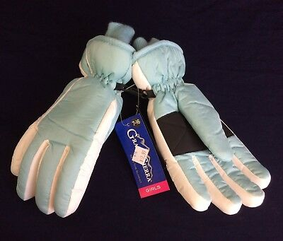 Girl's Youth Blue and White Thinsulate Ski Snow Winter Gloves Size 7-14 Yrs NWT!