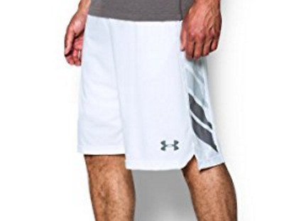 NEW L Under Armour Basketball Shorts White Black Select 11 Mesh Large NWT Men's