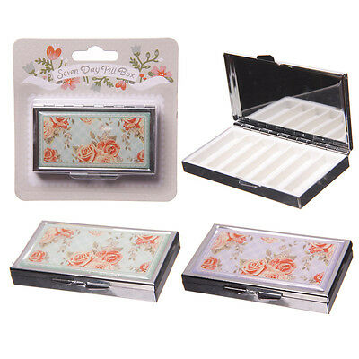 7 DAY WEEK PILL BOX WITH MIRROR ROSE DESIGN Travel Tablets Medication NEW