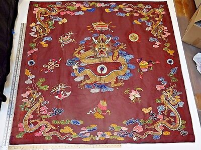 19th C. Qing [Ching] Dyn Large 5' x 5' Chinese Silk Embroidered Dragon Panel