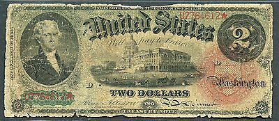 United States $2 Series 1869  Legal Tender Note Storn And Tattered  You Grade