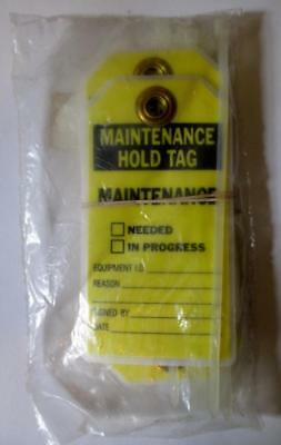 10 Brady Maintenance Hold Lockout Tags With Zip Ties #86416 Yellow