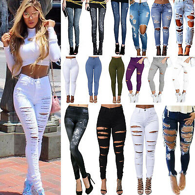 Womens Celeb Stretch Ripped Skinny High Waist Denim Pencil Pants Jeans Jegging