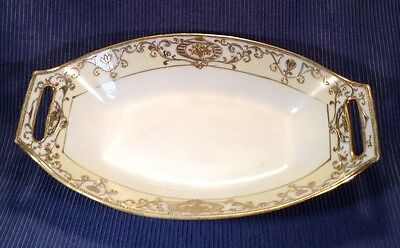 Nippon Noritake Christmas Ball 1912 Handled Celery Dish - Raised Gold Moriage