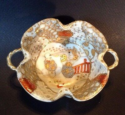 Nippon Satsuma Small Handled Bowl - Hand Painted White Imari Style Child Motif