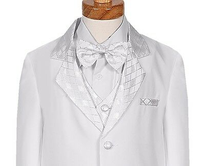 BY10d NEW BOYS TUXEDO WHITE VEST FORMAL SUIT CHECKERED TIE WEDDING RECITAL PARTY
