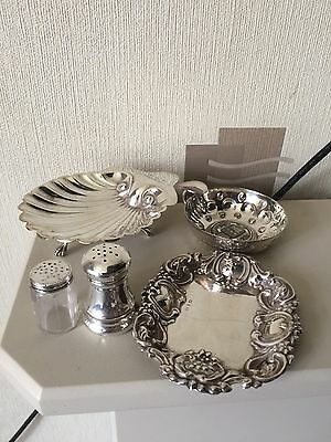 Collection Of 5 Silver Antique Scallop Butter Dish Salt Cellars Etc
