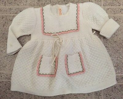 Vintage WHITE knit Renzo Baby doll Sweater dress 0-3 Mo