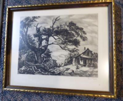 vintage signed Sam Thal 1903-1964 etching print titled Wolfboro, N.H. framed