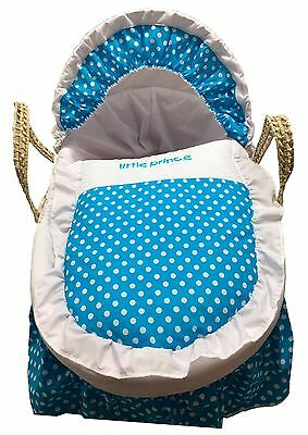 Mother Nature Inspired Baby Moses Basket Bedding/Dressing - Blue Polka Dots