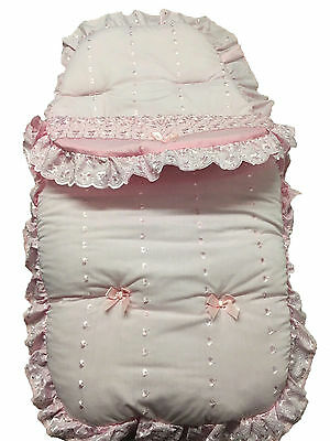 Frilly Broderie Anglaise Footmuff/Cosy Toes - Pink with Ribbons