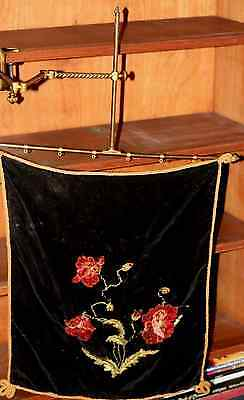 Antique FirePlace Screen HangingEmbroideryOnBlack Velvet French/Victorian1890's