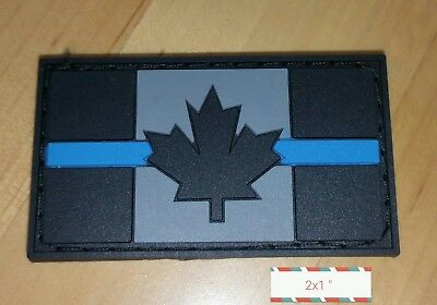 Canada Flag Thin Blue Line Pvc Morale Patch Hook And Loop Police Leo Law Tbl 2X1