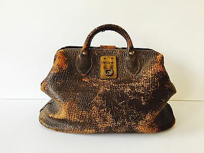 Stunning ~ Antique Pebbled Cowhide Leather Doctors Bag - Medium Size - Patina!