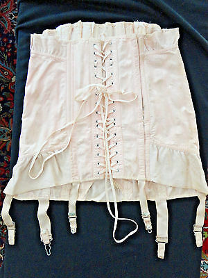 Vintage Shell Pink Corset With Stays -Large Size-Beautiful Damask Fabric -Exc