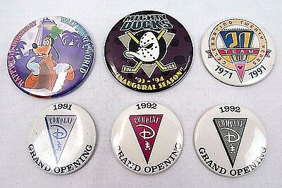 Collection of Six (6) Disney Button Pins Anniversary Commemorative 1990's