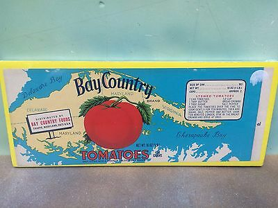 Vintage Bay Country Tomato Can Label  Trappe MD  Unused