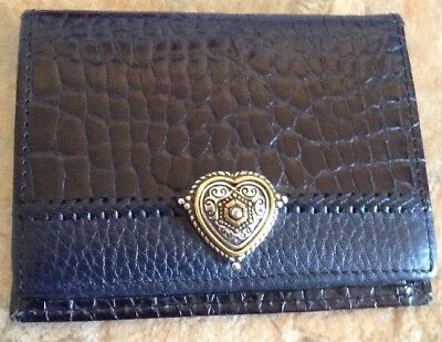 Western Style Womens Id Card Holder Black Embossed Silver Tone Engraved Heart