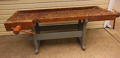 "Antique Workbench Woodworker Carpenter Cabinetmaker 87"" 2 Vises"