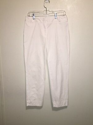 Talbots Signature White Stretch Cropped Capri Pants Women's Size 6