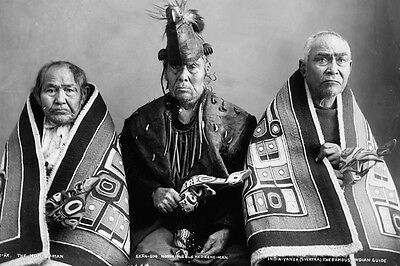 New 4x6 Native American Photo: Three brothers, Kak-Von-Tons of Chilkat Tribe