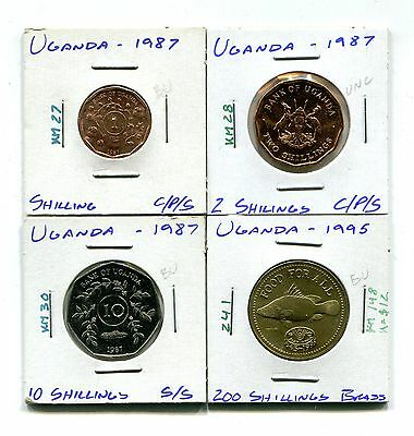 Uganda : Lot of 4 different uncirculated coins  1987 - 1995