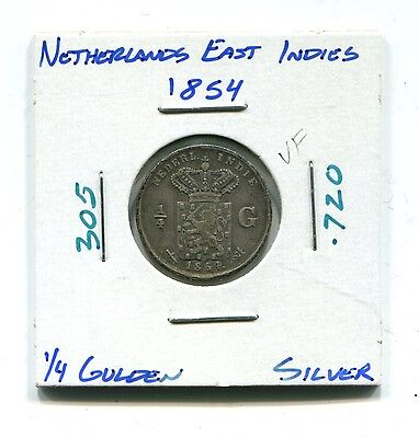 Netherlands East Indies : Silver 1/4 Gulden 1854 VF (KM 305)