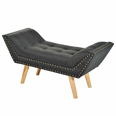 HOMCOM - Panchina Divanetto Chesterfield Imbottita in Lino 117 x 46 x 55cm