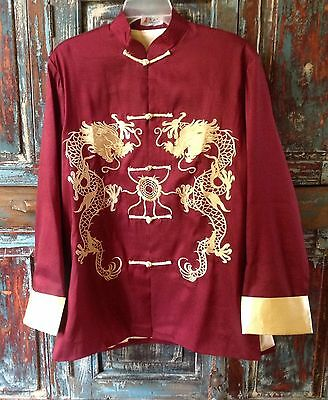Asian Kung fu Jacket Chinese Dragon Embroidered Red Gold so L