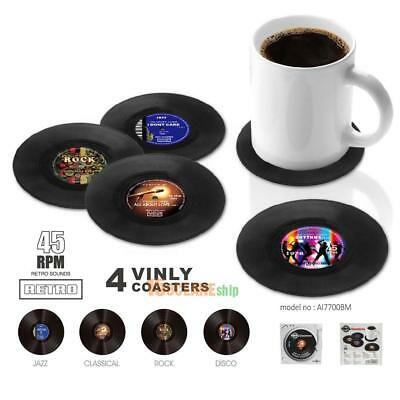 4pcs Retro Vinyl Groovy Record Coasters Cup Drinks Holder Mat Tableware Placemat