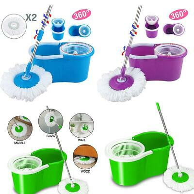 360° Rotating Spining Head Easy Magic Floor Mop Bucket W/ 2 Head Microfiber