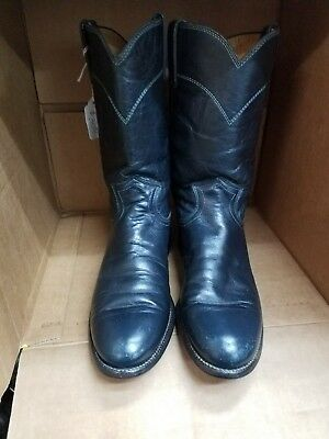 Justin Womens Navy Blue Leather Cowboy Boots 6 B Roper Style