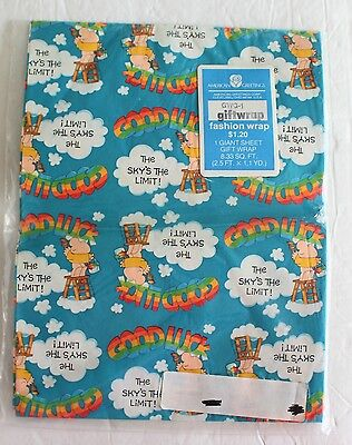 NEW American Greetings VTG ZIGGY Wrapping Paper Giant Sheet Gift Wrap 2.5x1.1 Yd