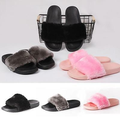 Women Slippers Fur Slides Style Faux Fur Flip Flop Flat Sandals Slides Shoes JJ