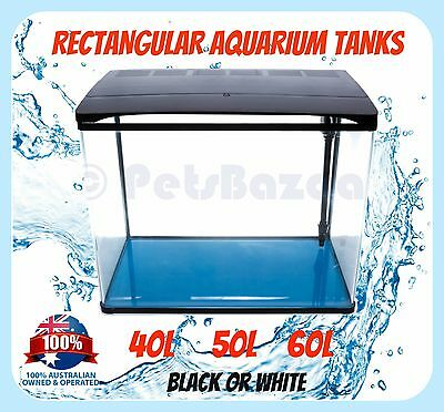 AQUARIUM GLASS TANK RECTANGLE - 40L 50L 60L Glass Rectangle Pump Filter Bed SMD