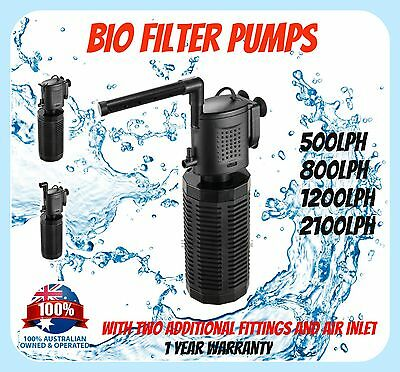 AQUARIUM INTERNAL BIO FILTER PUMP - 500 800 1200 2100 L/h - Fish Tank Water