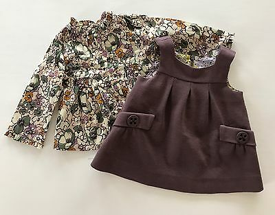 ZARA BABY Girl Floral Top and Purple Jumper Dress Set Outfit Size 3-6 Months