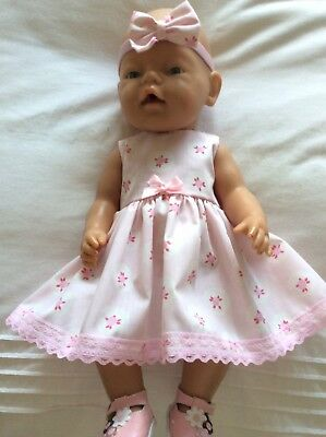 "Doll Clothes to fit 17"" Baby Born doll ~ Dress & hband  ~ Pink Roses Pattern"