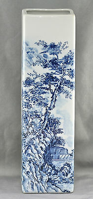 Vintage Traditional Chinese Blue & White Large Square Vase Excellent Condition