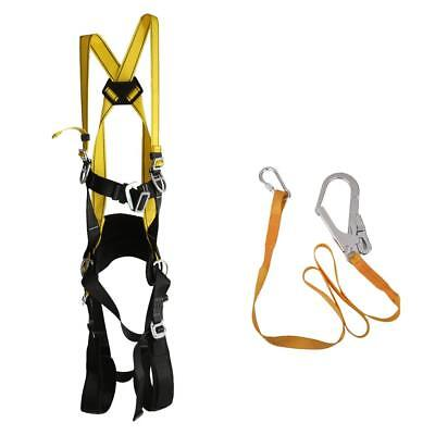 Fall Arrest Safety Protection Full Body Harness & Lanyard Kit - Adjustable