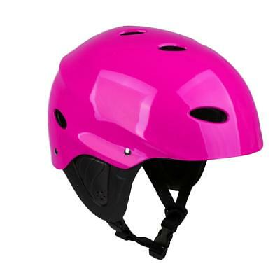 M/L Rose/Green Adjustable Safety Helmet with Ear Guard Water Sports Kayaking