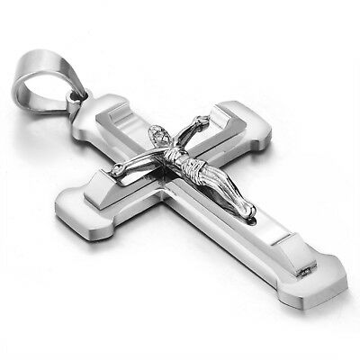MENDINO Men Stainless Steel Pendant Necklace Nailed Juses Crucifix Cross Silver