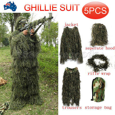 Ghillie Suit 5pcs Hunting Archery Sniper Gun Wrap Bag Paintball Camo Adult Gilly